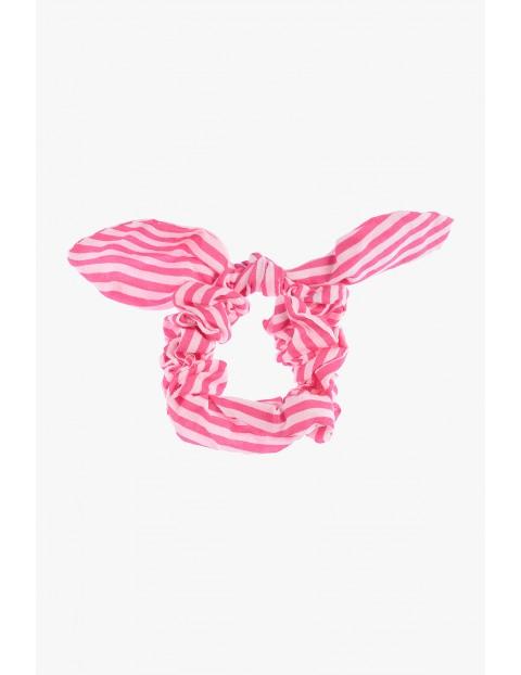 Gumka do włosów różowa z kokardką