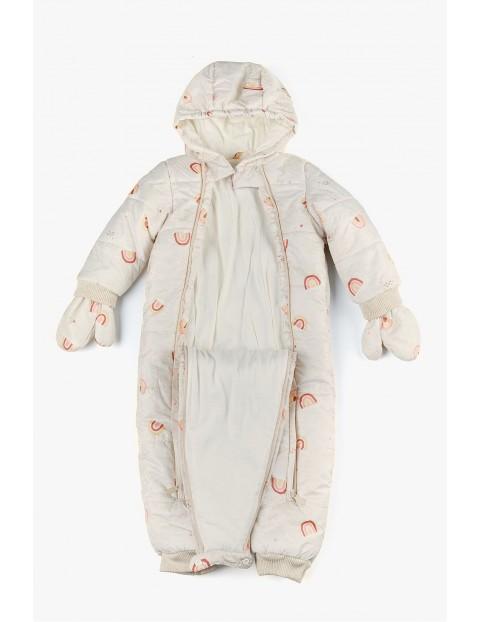 Kombinezon niemowlęcy w tęcze z rękawiczkami i wygodnym rozpięciem