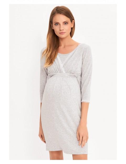 Szara koszula nocna na okres ciąży i karmienia