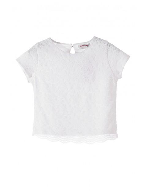 T-shirt dziewczęcy koronkowy 4I3416