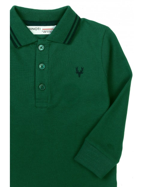Bluzka chłopięca bawełniana z kołnierzykiem - zielona