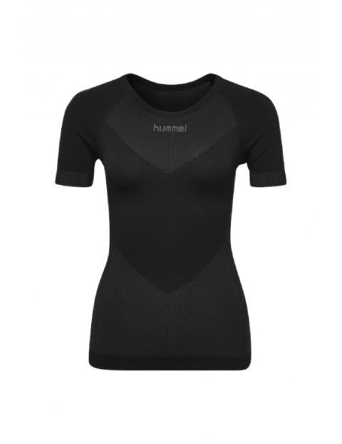 Bezszwowa koszulka sportowa z krótkim rękawem - czarna
