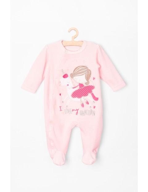 Pajac niemowlęcy- różowy z jednorożcem