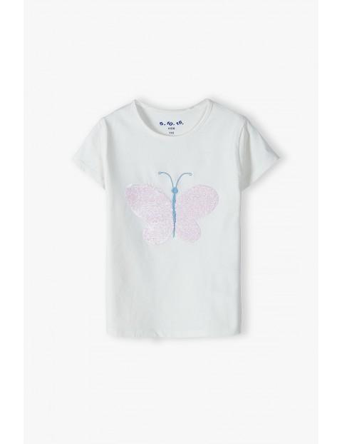 T-shirt dziewczęcy z różowym motylkiem z cekinów