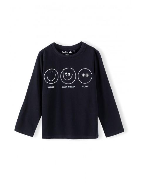 Bluzka chłopięca czarna z zabawnym nadrukiem