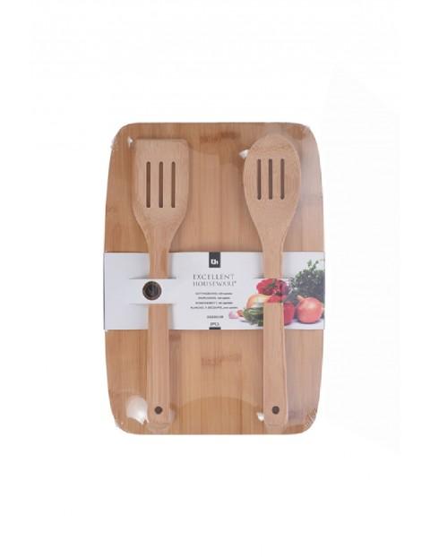 Deska kuchenna bambusowa z łyżką i łopatką