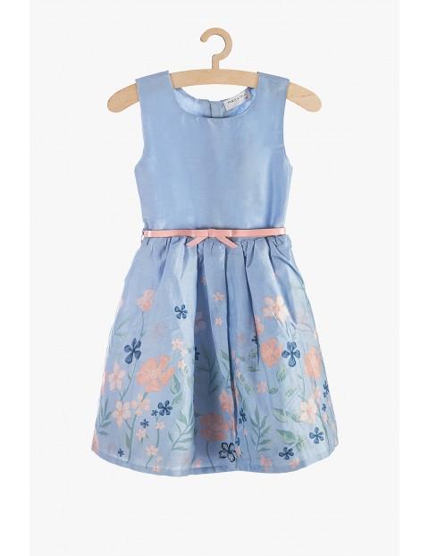 Elegancka sukienka dziewczęca- niebieska w kwiatki