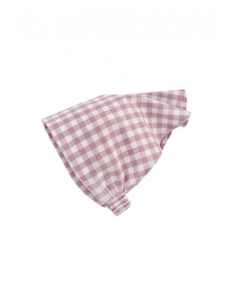 Bawełniana chustka dziecięca w różowo-białą kratkę