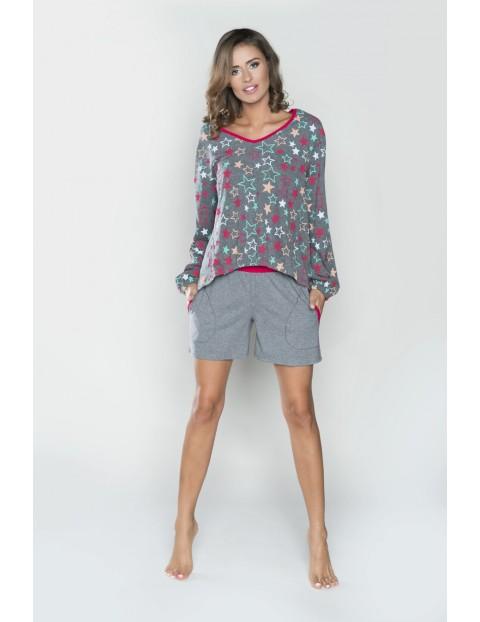 Piżama damska -długi rękaw i krótkie  spodnie - szara w gwiazdki