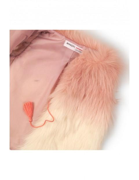 Bezrękawnik dziewczęcy różowy ze sztucznego futerka