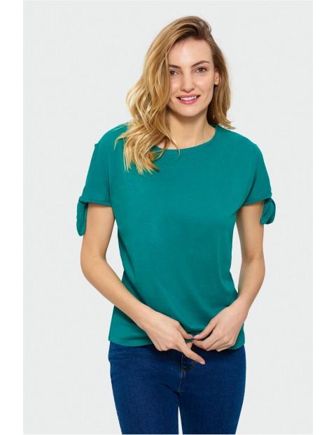 Zielony top damski z wiązaniami na rękawach