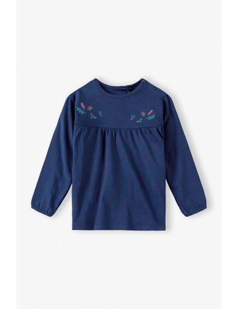 Granatowa bluzka z ozdobnym haftem