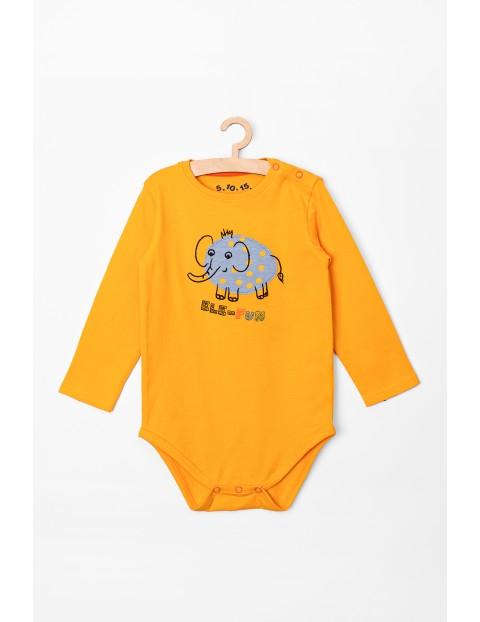 Body niemowlęce z długim rękawem- żółte ze słonikiem