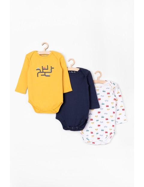 Body niemowlęce z długim rękawem 3 pak - 100% bawełna