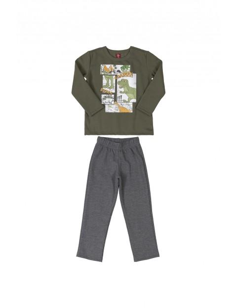 Komplet chłopięcy- bluza z nadrukiem i szare spodnie dresowe