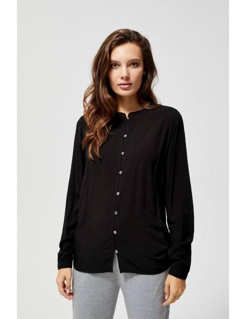 Czarna wiskozowa koszula damska ze stójką