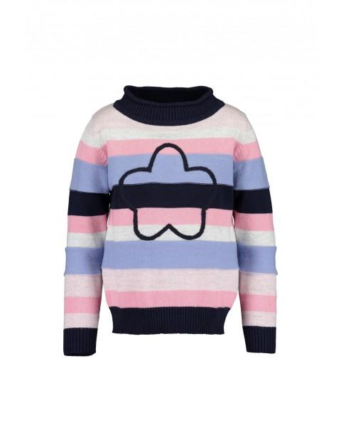 Kolorowy sweter dziewczęcy w paski