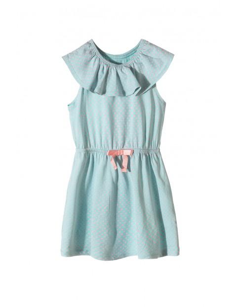 Sukienka dziewczęca na lato- zielona w różowe kropki