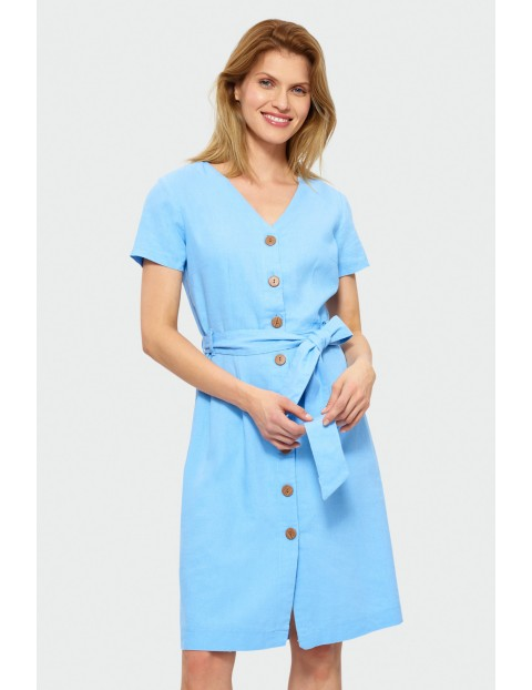 Sukienka damska na lato  z paskiem-niebieska