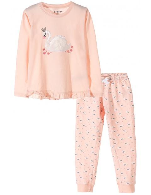Piżama dziewczęca różowa z łabędziem