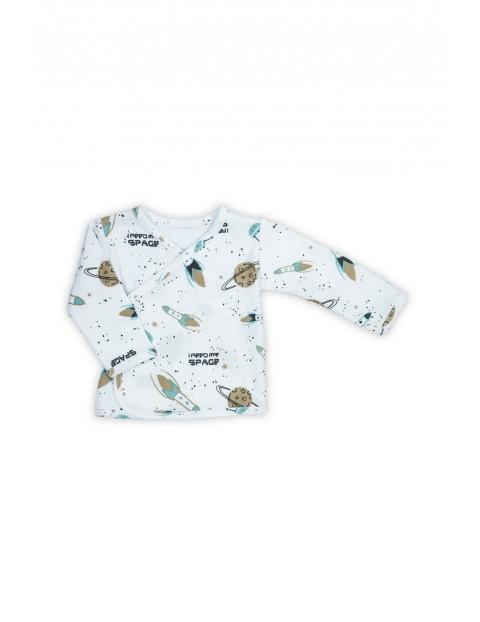 Bawełniana kaftanik niemowlęcy z długim rękawem - kosmosu