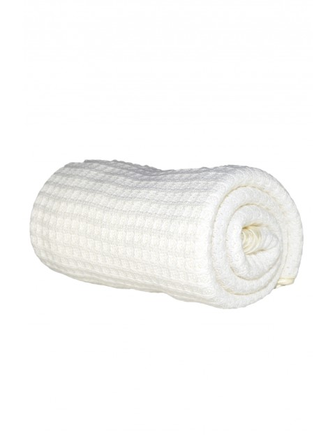 Kocyk bawełniany sweter - biały 71×110cm