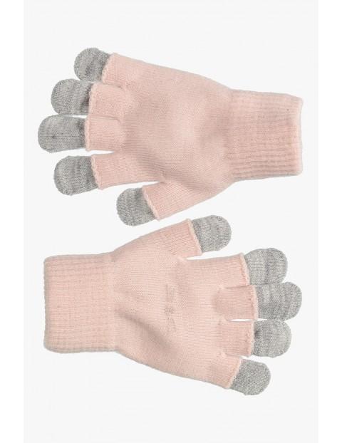 Różowo- szare rękawiczki dla dziewczynki