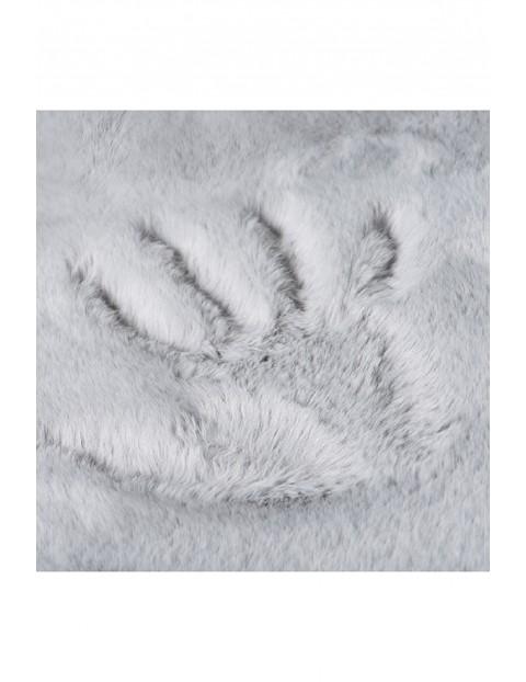 Dywan okrągły szary sztuczne królicze futerko 100x100 cm