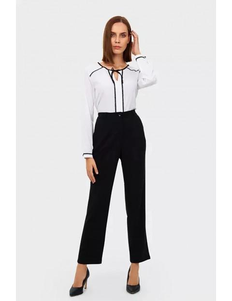Spodnie damskie z szeroką nogawką - czarne