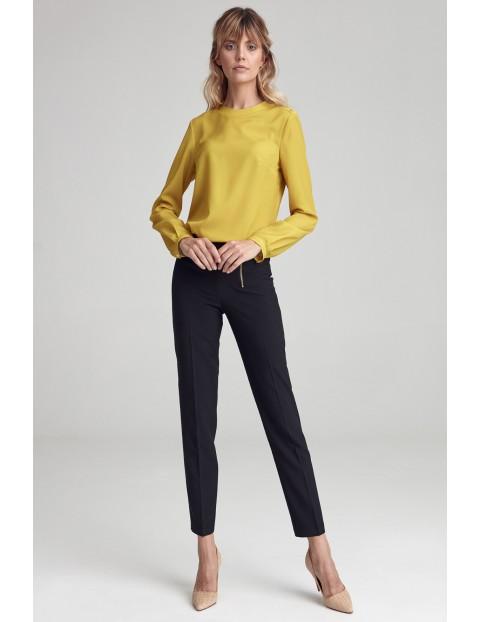 Limonkowa bluzka z guzikami na jednym ramieniu