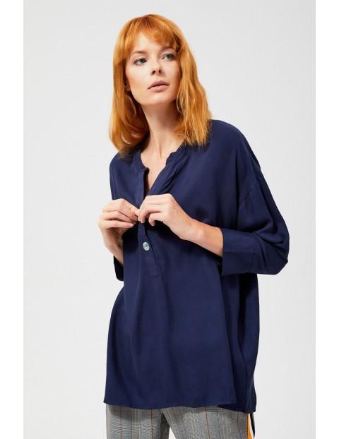 Granatowa koszula z ozdobnymi guzikami