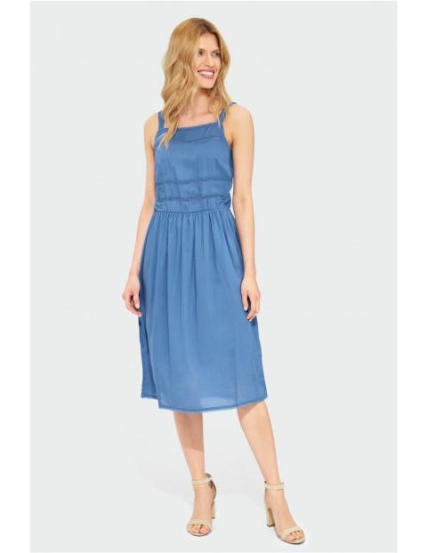 Niebieska sukienka damska na cienkie ramiączkach