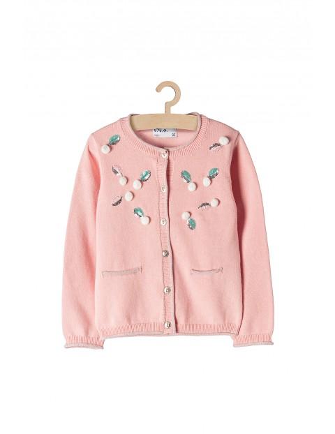 Sweter dziewczęcy różowy z połyskującymi detalami