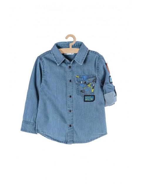 Koszula chłopięca jeansowa z podwijanym rękawem niebieska