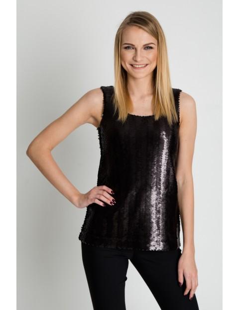 Oryginalna bluzka na ramiączkach- czarna z cekinami