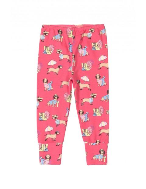 Spodnie niemowlęce w pieski - różowe
