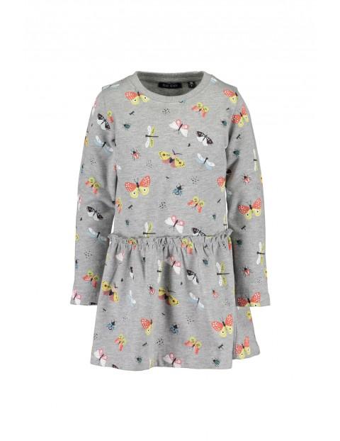 Szara dzianinowa sukienka w motyle
