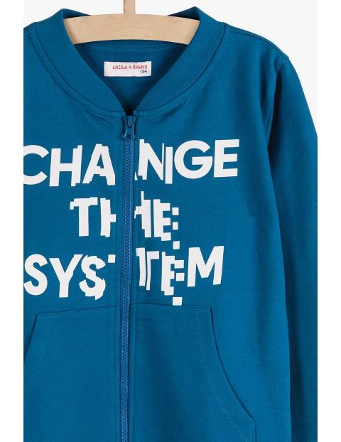 Bluza dresowa dla chłopca- niebieska z kieszeniami