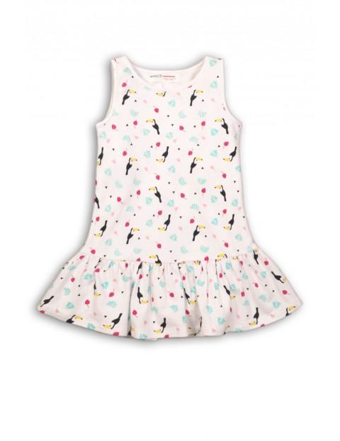 Bawełniana sukienka dla niemowlaka na ramiączka- tukany
