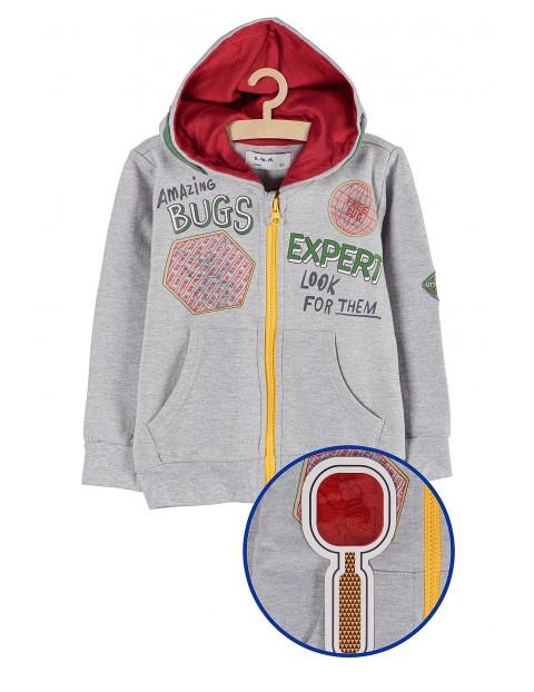 Bluza rozpinana dresowa z nadrukami i lupą