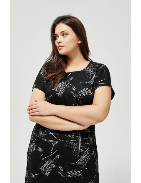 Czarna sukienka damska z wiązaniem w pasie