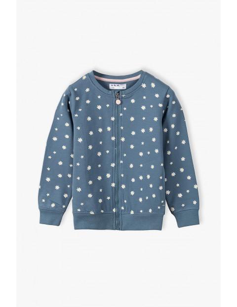 Bluza dresowa dziewczęca-niebieska w kwiatki