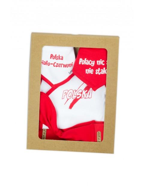 Bawełniany komplet Strefa Kibica - chustka + 2x apaszka + body + spodenki - biało-czerwony
