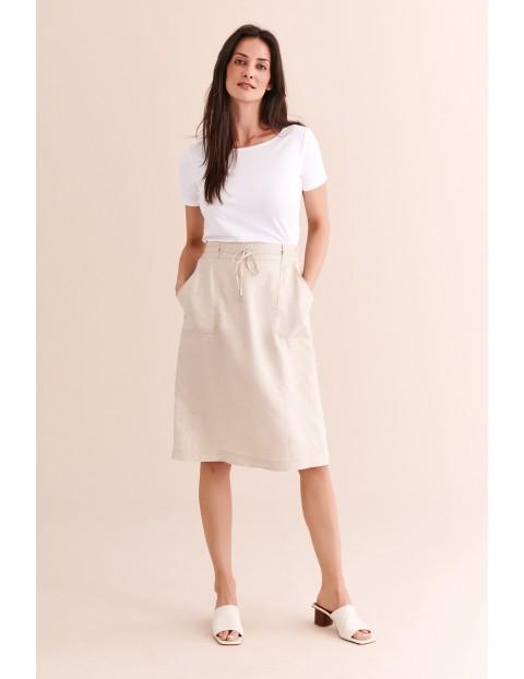 Lniana beżowa spódnica damska- midi