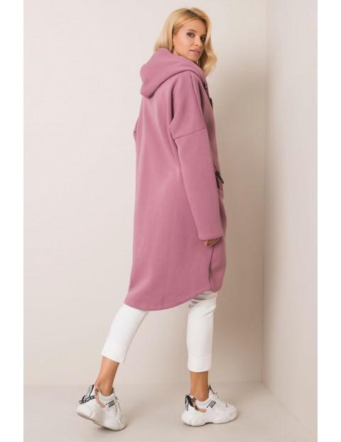 RUE PARIS Długa dresowa bluza damska z kapturem - różowa