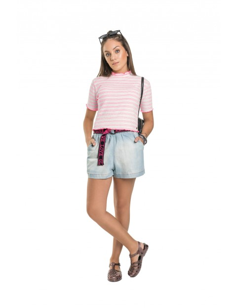 Koszulka dziewczęca w różowe paski - szara