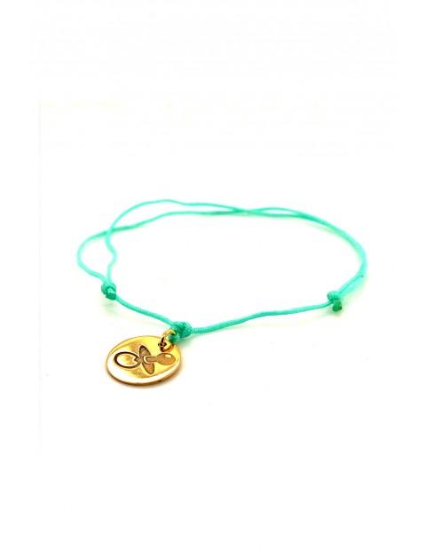 Narodziny - bransoleta Smoczek złocone - miętowy sznurek