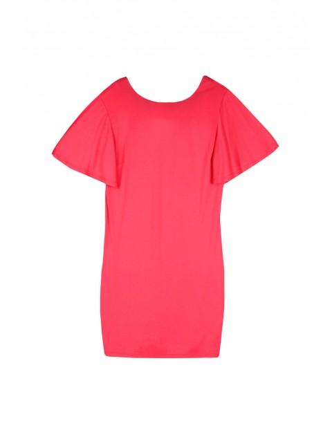 Różowa  sukienka damska o luźnym kroju