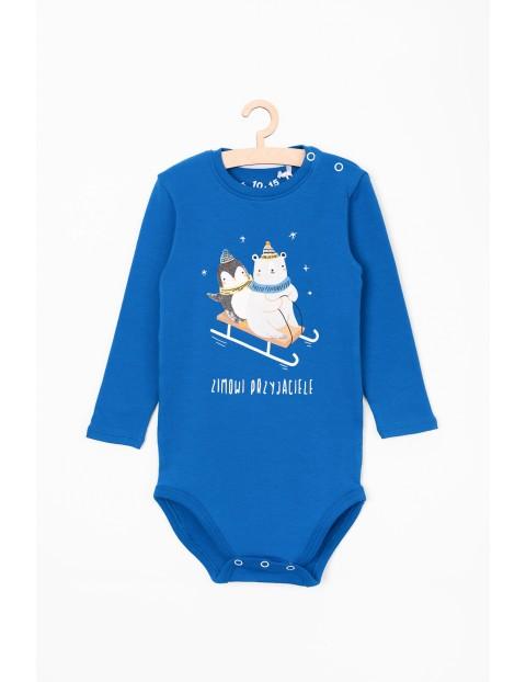 Body dla niemowlaka- niebieskie z napisem Zimowi przyjaciele
