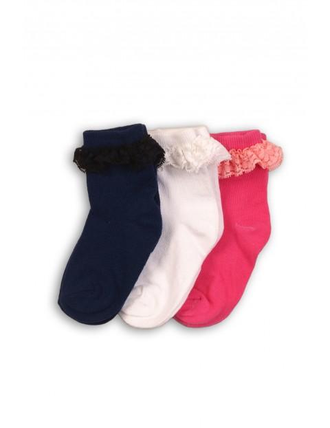 Skarpety niemowlęce czarne, białe, różowe 3pak